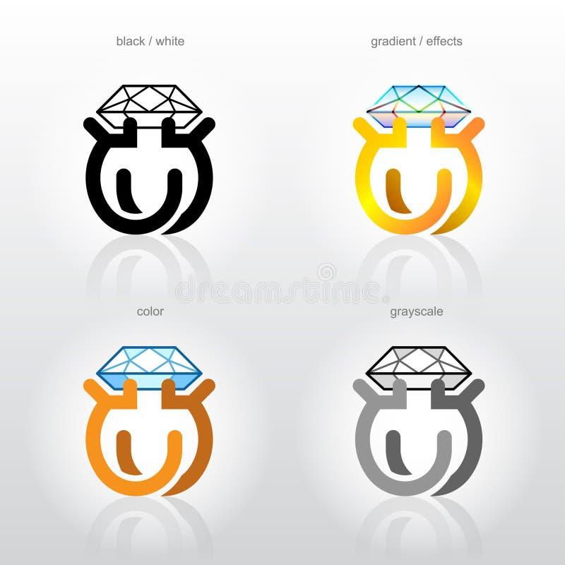 Het teken van de identiteit voor de bedrijven van de juwelenindustrie royalty-vrije illustratie