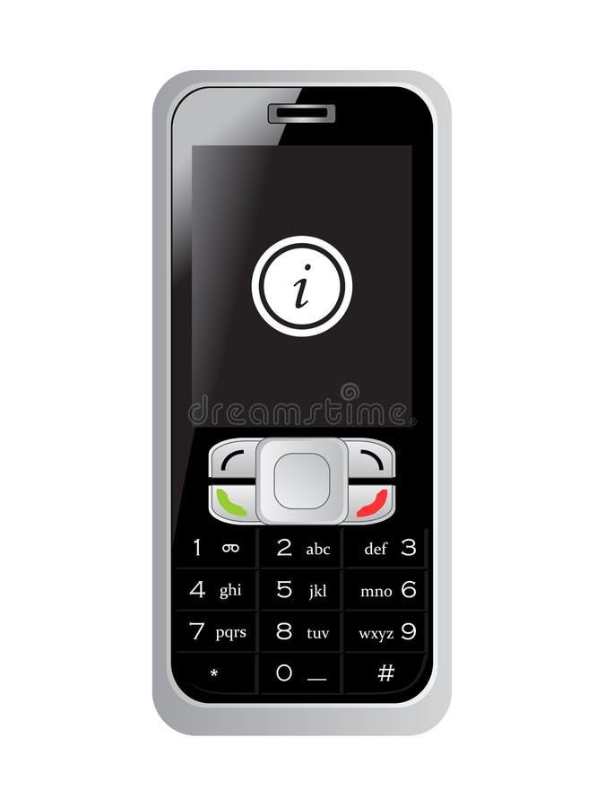 Het teken van de informatie op het scherm van de mobiele telefoon royalty-vrije stock afbeelding