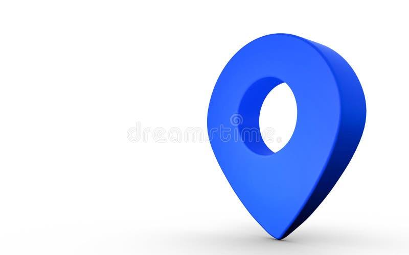 Het teken van de kaartwijzer in blauwe die kleur op witte achtergrond wordt geïsoleerd het 3d teruggeven stock illustratie