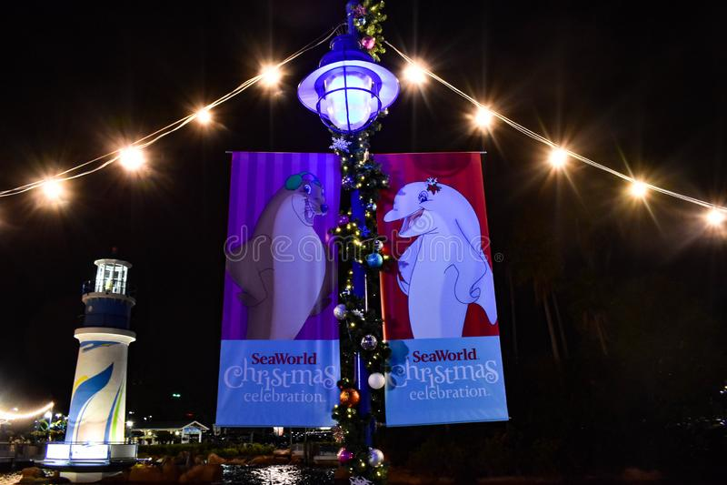 Het teken van de Kerstmisviering in Seaworld op Internationaal Aandrijvingsgebied stock foto's
