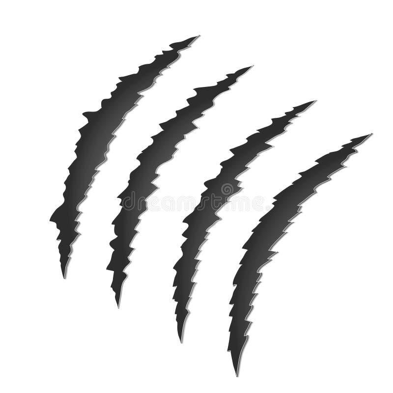 Het Teken van de klauwkras Gescheurd schaaf spoor van vectorillu van de dierenvoorraad royalty-vrije illustratie