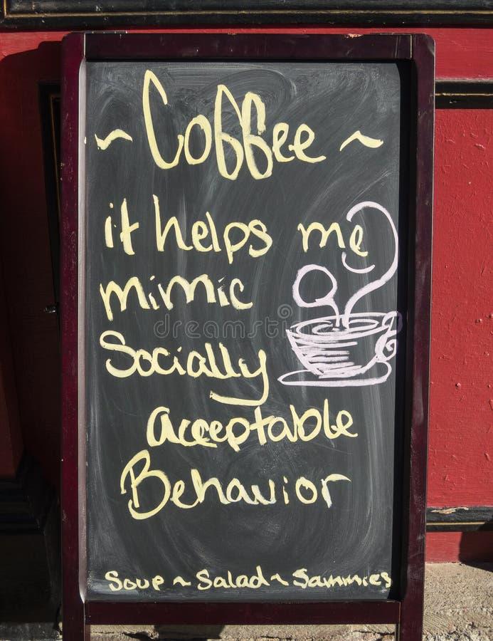 Het teken van de koffiewinkel - humeur stock afbeeldingen