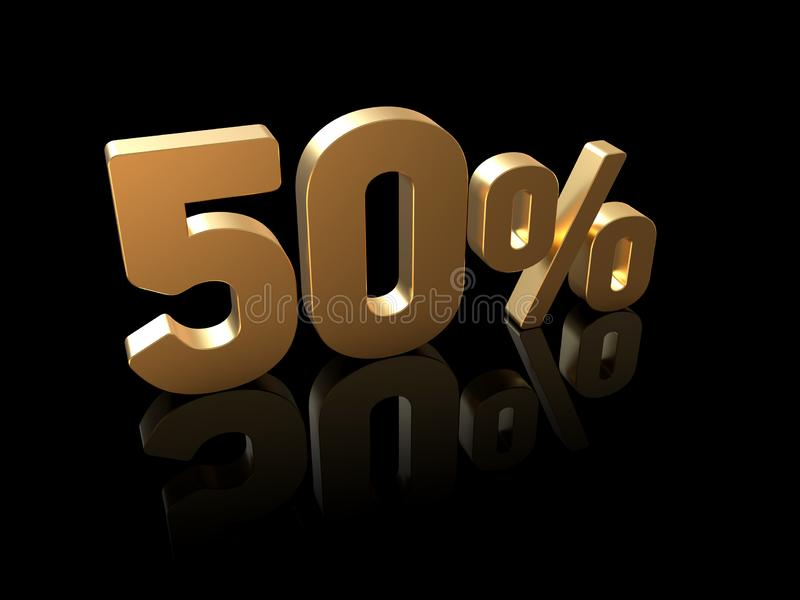 50% het teken van de kortingsprijs, 3D cijfers, goud op zwarte stock afbeelding