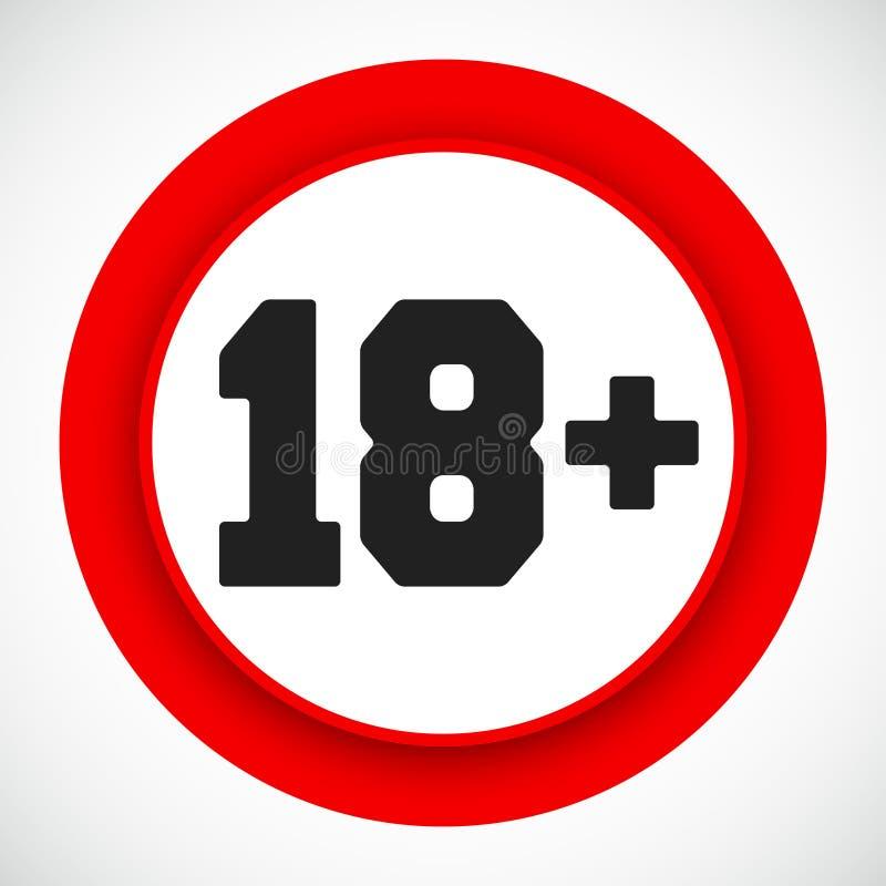 18 het Teken van de leeftijdsbeperking Verboden onder achttien jaar rood symbool stock illustratie