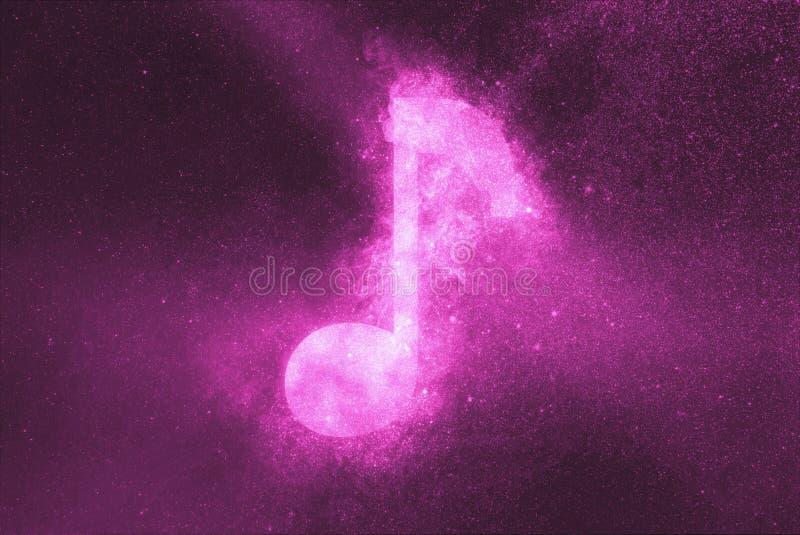 Het teken van de muzieknota, het symbool van de Muzieknota De abstracte achtergrond van de nachthemel vector illustratie