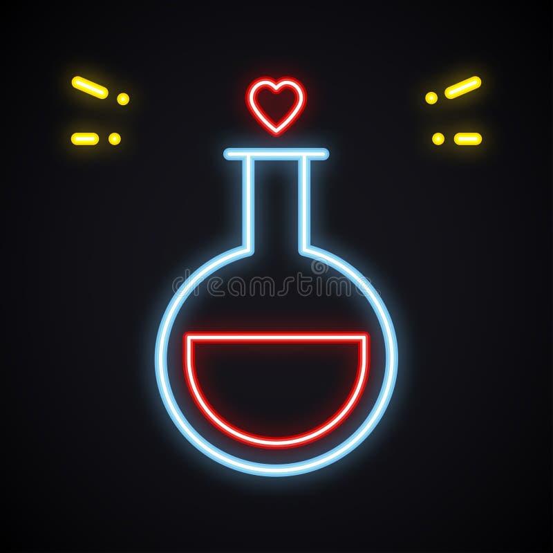 Het Teken van de neonliefde Heldere vloeibare fles Romantisch thema Hart lichte vorm De gelukkige Dag van de Valentijnskaart `s stock illustratie