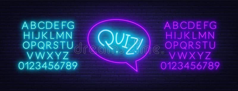 Het teken van de neonquiz in toespraakbel op bakstenen muurachtergrond Neondoopvonten stock illustratie