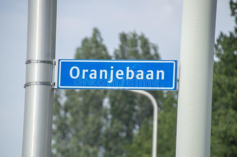 Het Teken van de Oranjebaanstraat bij Amstelveen-Nederland 2019 stock foto's