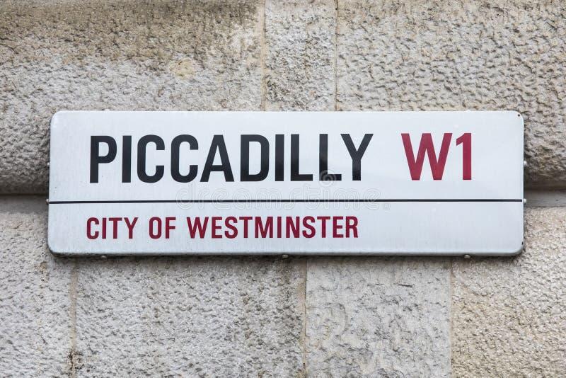 Het Teken van de Piccadillystraat in Londen stock fotografie