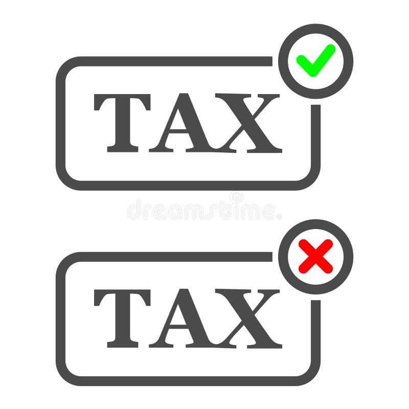 Het Teken van de pictogrambelasting Inbegrepen en Uitgesloten belasting Perfect pixel stock illustratie
