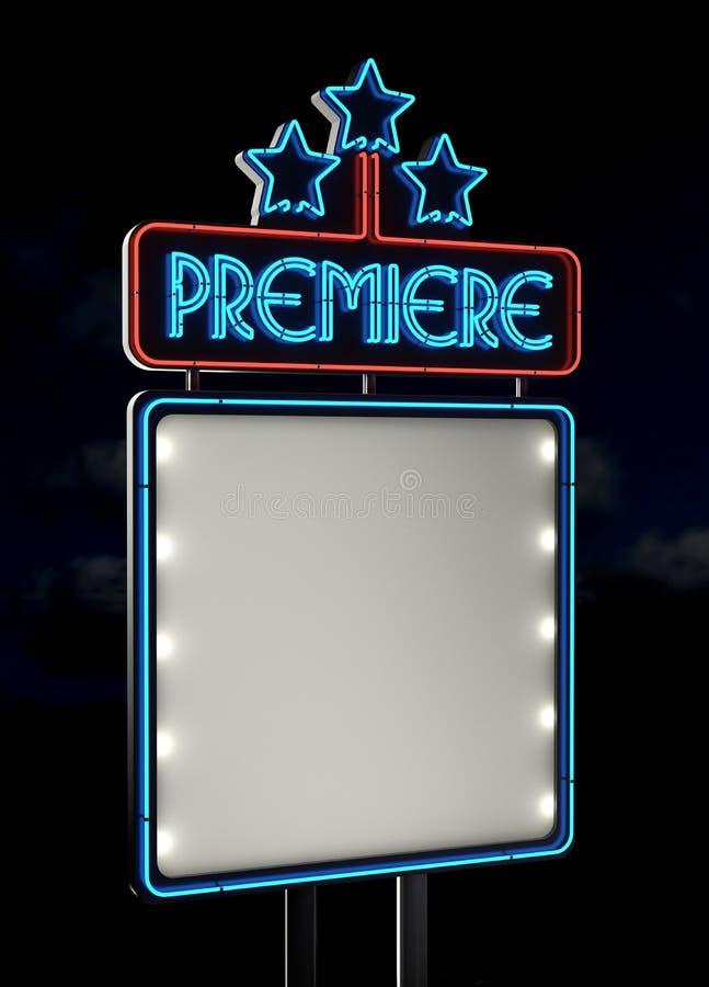 Het teken van de Première van het neon vector illustratie