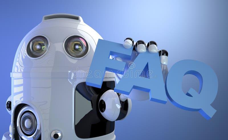 Het teken van de robotholding FAQ. Technologieconcept. stock illustratie