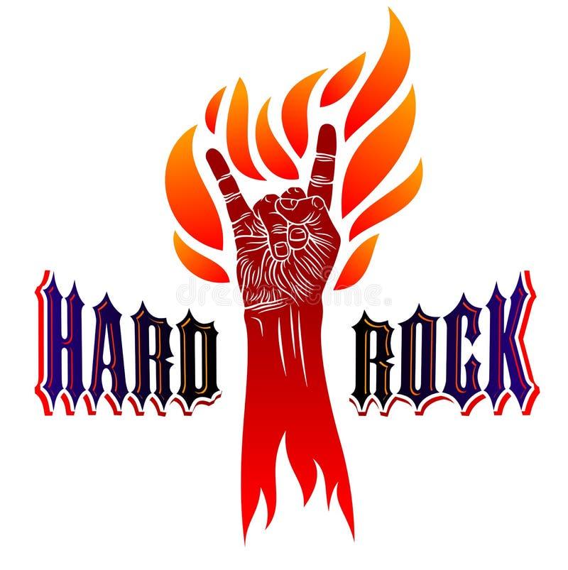 Het teken van de rotshand op brand, hete muziekrots - en - rolt gebaar in vlammen, de club van het Hardrockfestival het overleg o royalty-vrije illustratie