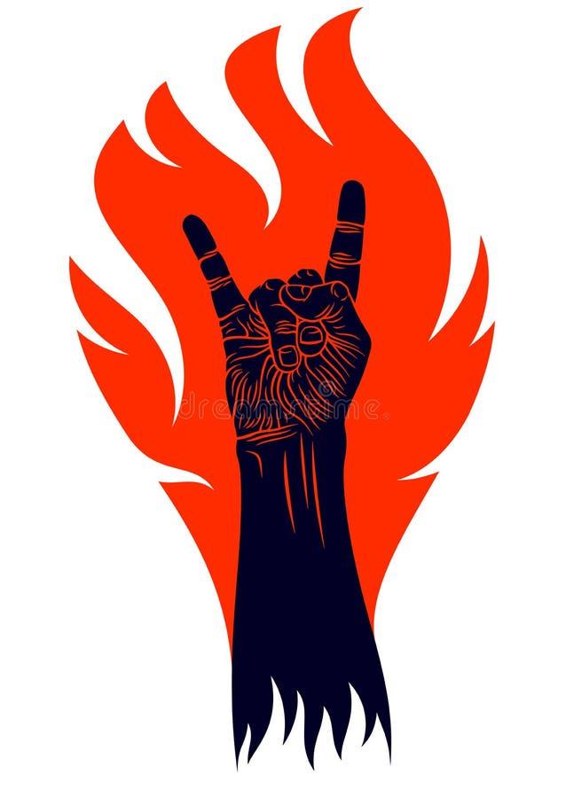 Het teken van de rotshand op brand, hete muziekrots - en - rolt gebaar in vlammen, de club van het Hardrockfestival het overleg o vector illustratie