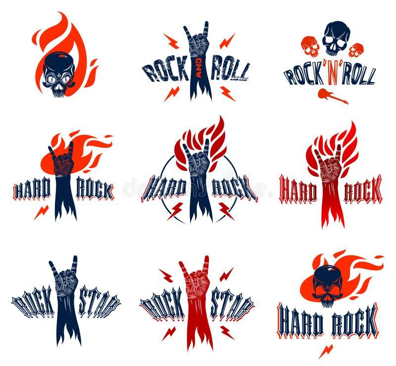Het teken van de rotshand op brandreeks, hete muziekrots - en - rolt gebaar in vlammen, het overleg van het Hardrockfestival of c royalty-vrije illustratie