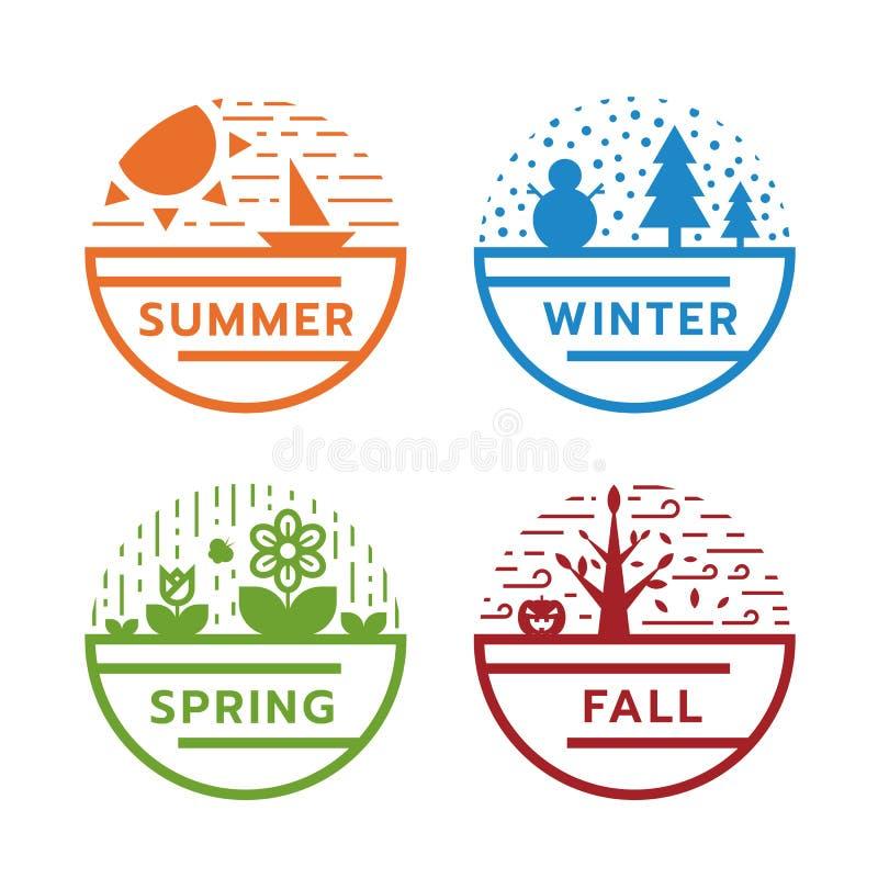 het teken van de 4 seizoencirkel met moderne lijnaard in de zomer, de winter, de lente en dalings vectorontwerp royalty-vrije illustratie