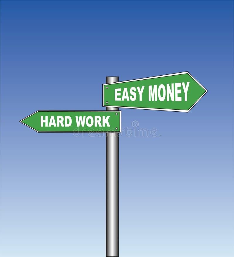 Het teken van de straat: Het harde werk - Gemakkelijk geld stock illustratie