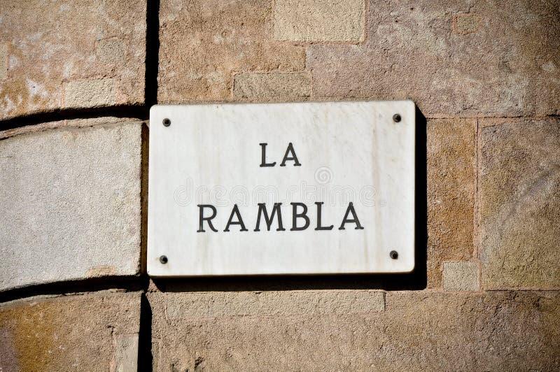Het Teken van de Straat van La Rambla stock fotografie