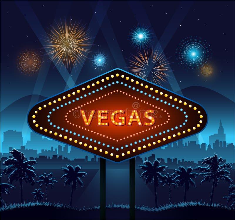 Het teken van de Vegasstad bij vuurwerk van nacht en het achtergrondlichten stock illustratie