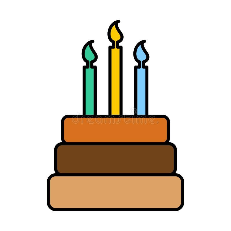Het teken van de verjaardagscake Embleemdessert voor vakantie vector illustratie