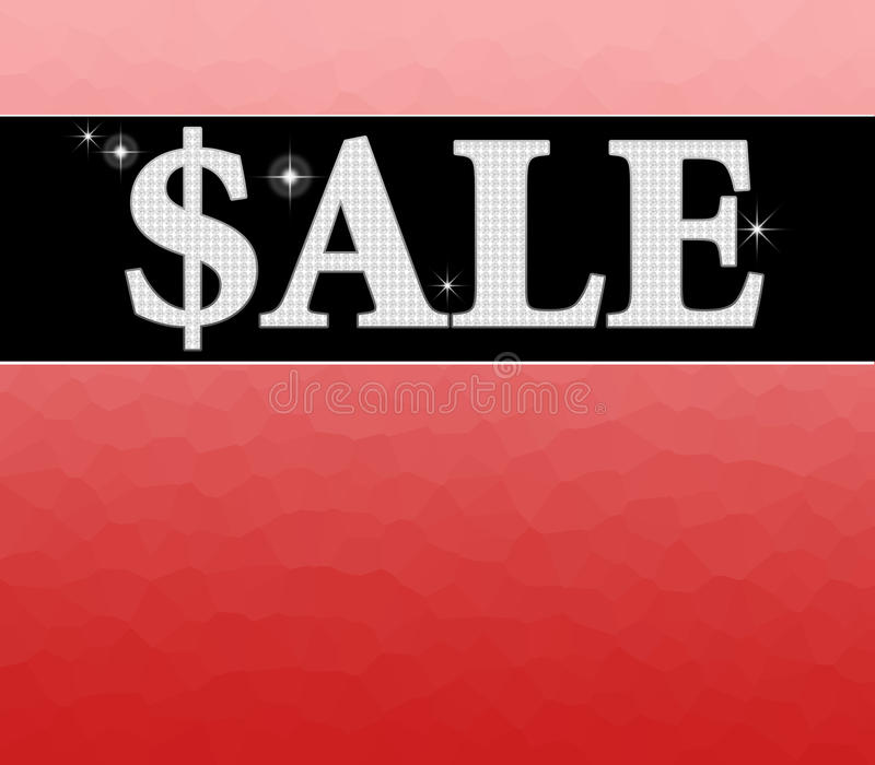 Het teken van de verkoop met rode achtergrond stock illustratie