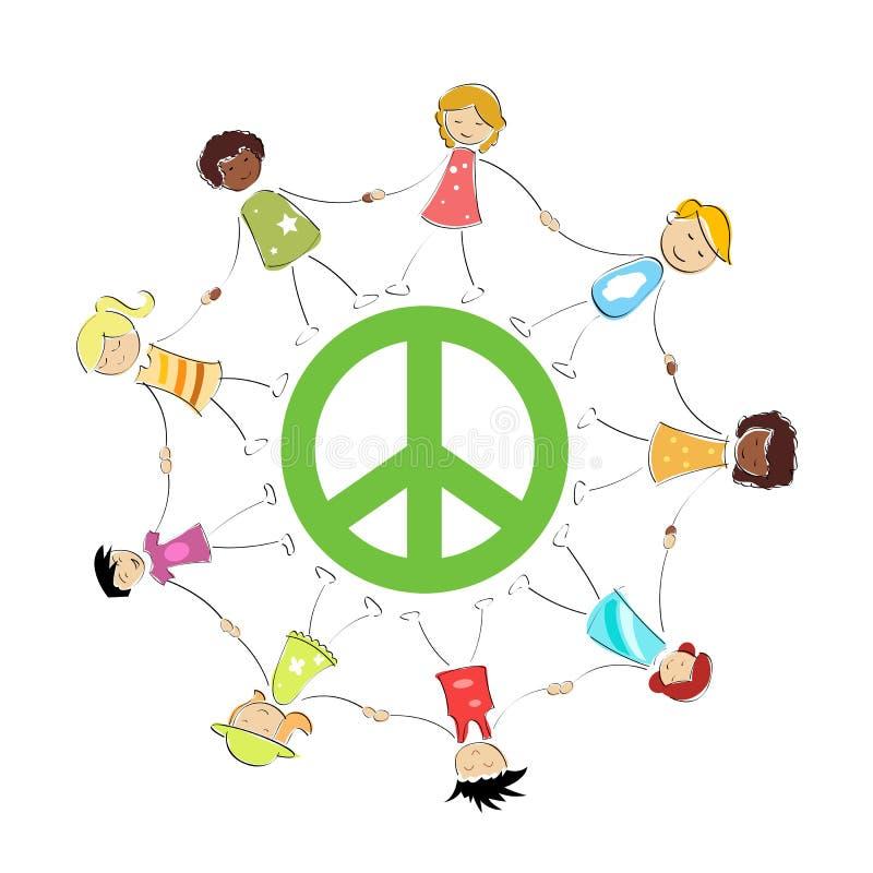 Het teken van de vrede met jonge geitjes stock illustratie