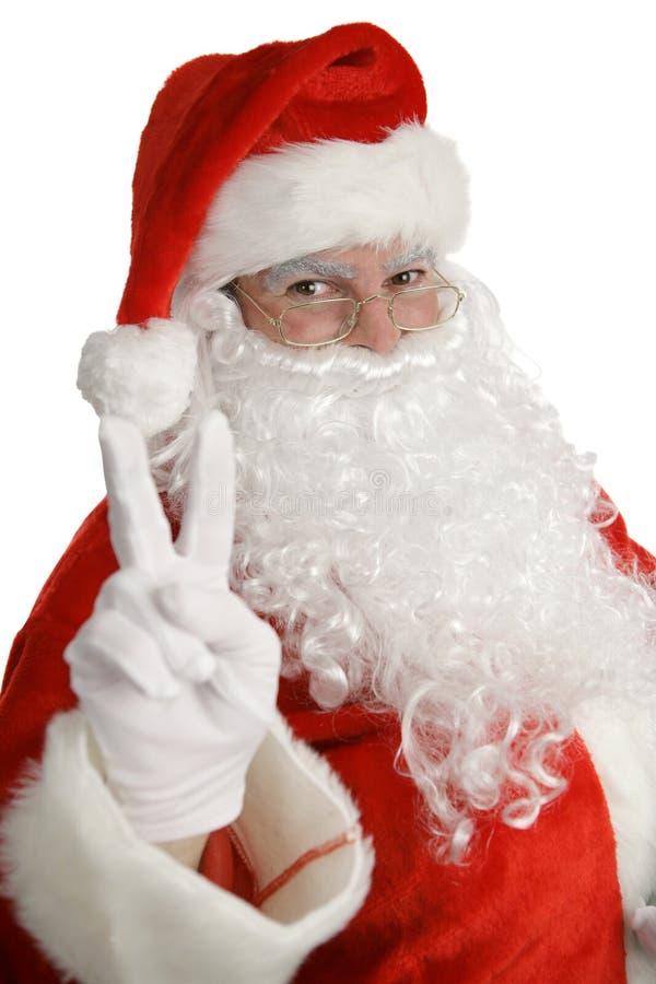 Het Teken van de Vrede van de Kerstman royalty-vrije stock foto's