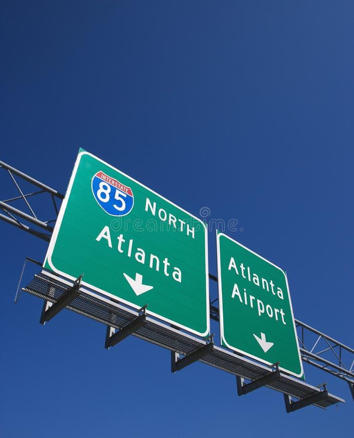 Het teken van de weg in Atlanta stock afbeeldingen