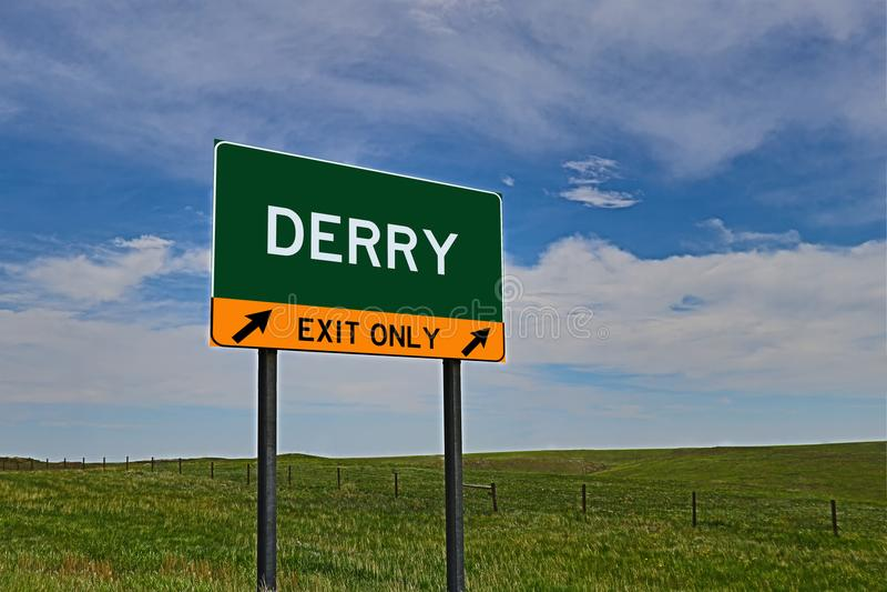 Het Teken van de de Weguitgang van de V.S. voor Derry stock foto