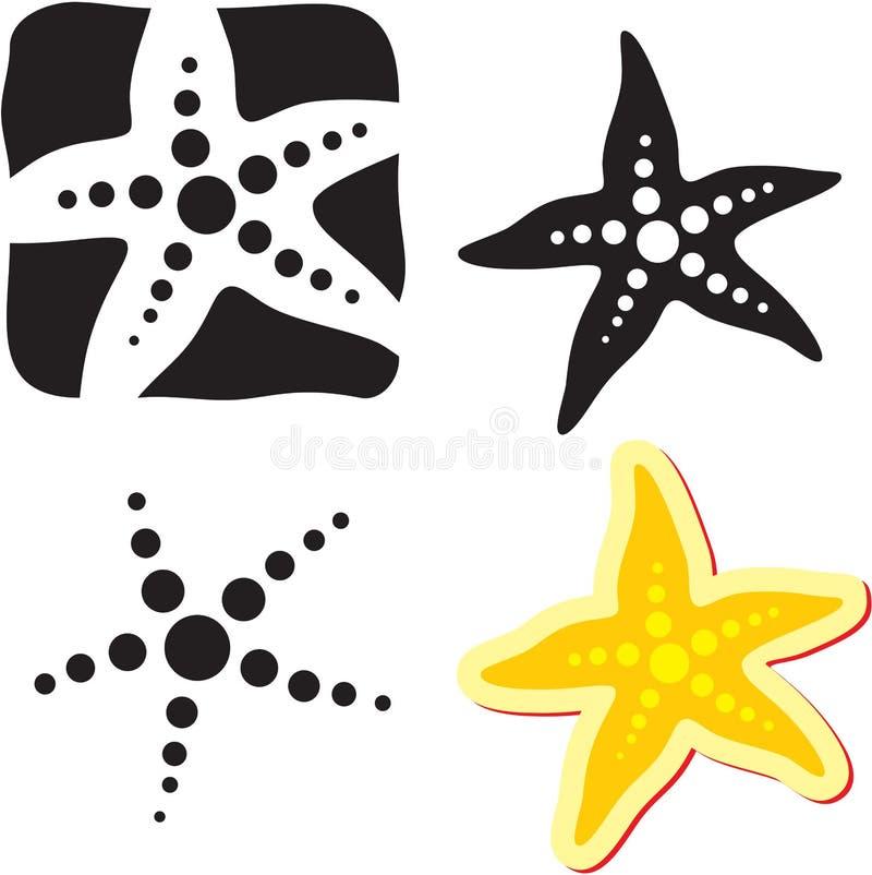Het teken van de zeester. Overzeese ster stock illustratie