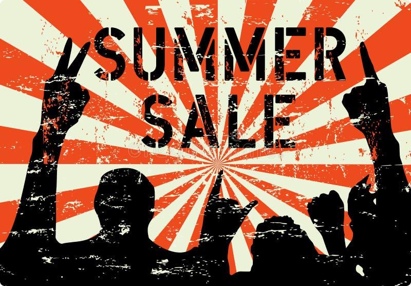 Het teken van de de zomerverkoop of reclame, grungy stijl, fictief kunstwerk, vector royalty-vrije illustratie