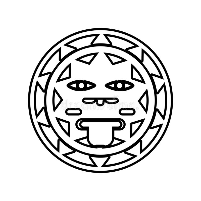 het teken van de zon van het pictogram van Mexico Element van Mexico voor mobiel concept en webtoepassingenpictogram Overzicht, d stock illustratie