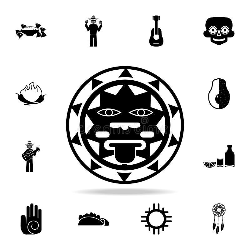 het teken van de zon van het pictogram van Mexico Gedetailleerde reeks de cultuurpictogrammen van elementenmexico Premie grafisch vector illustratie