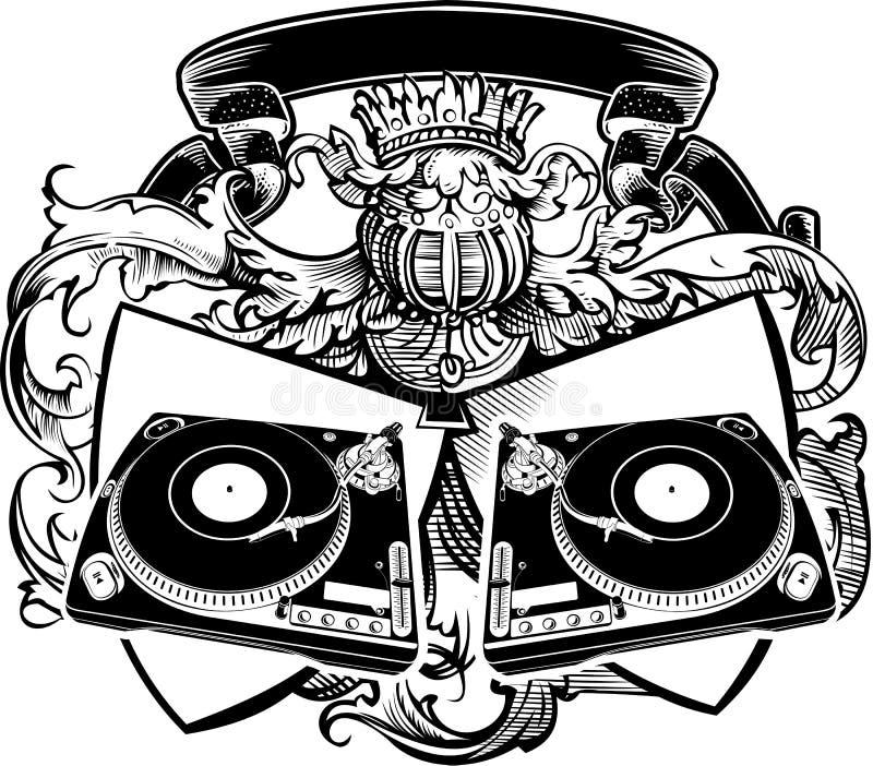 Het Teken van DJ van de wapenkunde met Draaischijven. royalty-vrije illustratie
