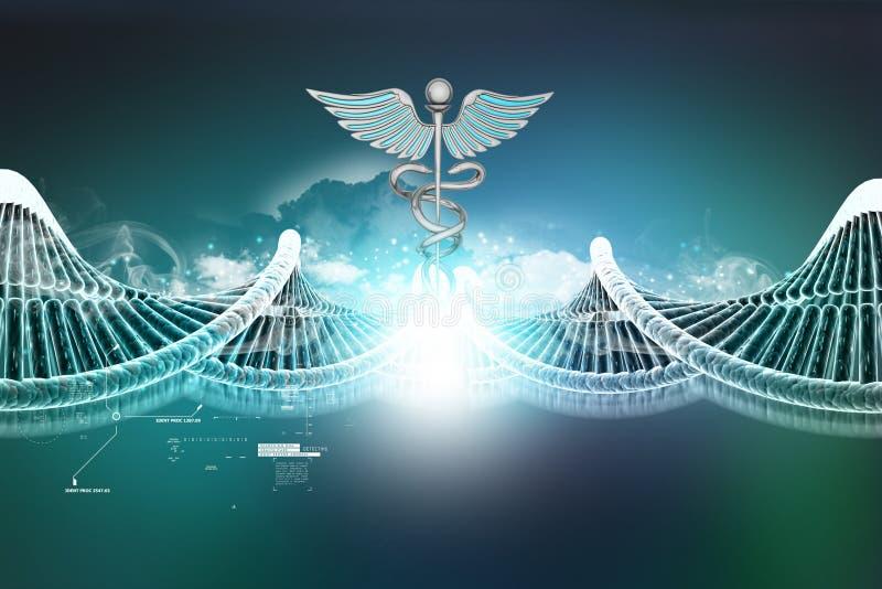 Het teken van DNA en caduceus stock illustratie