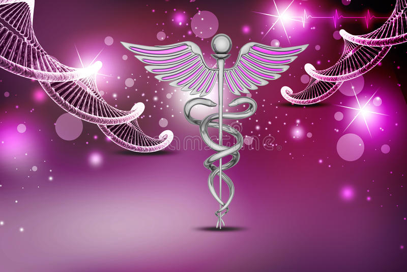Het teken van DNA en caduceus vector illustratie