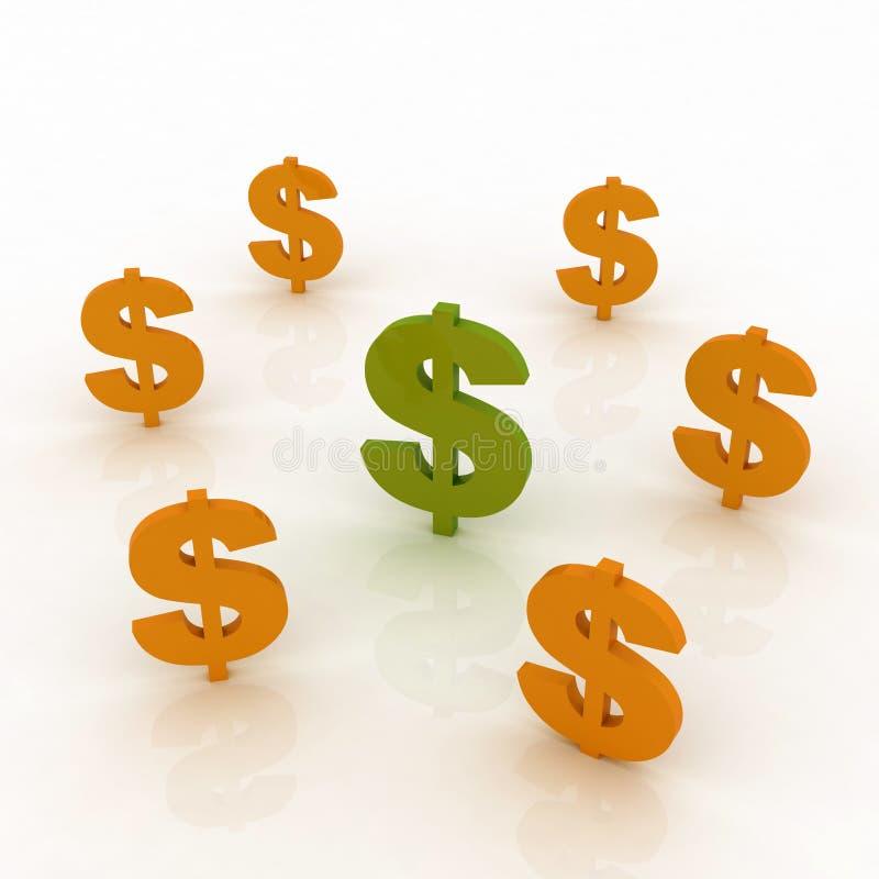 Het teken van dollars royalty-vrije illustratie