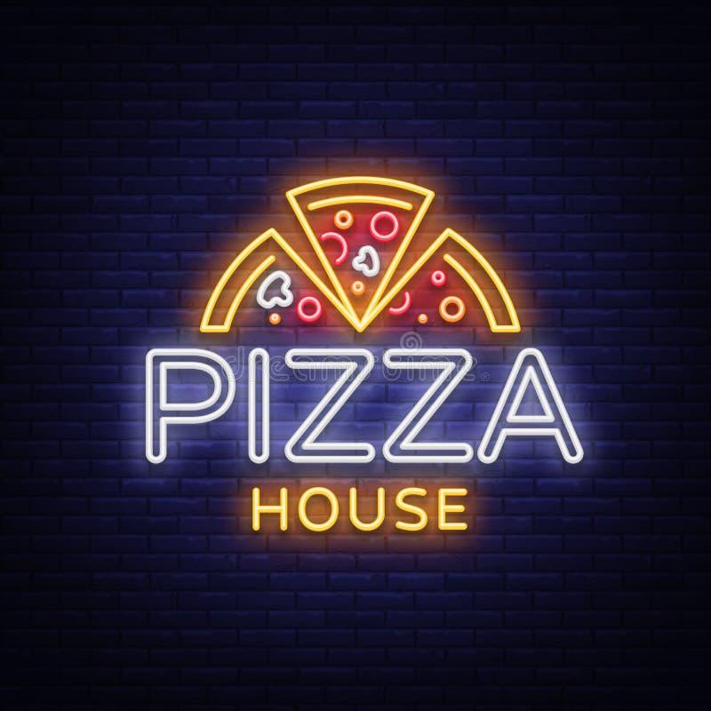 Het teken van het het embleemneon van het pizzaembleem Embleem in neonstijl, helder neonteken met Italiaanse voedselbevordering,  vector illustratie