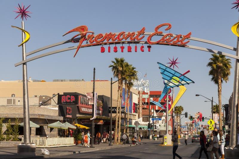 Het Teken van het Fremontoosten in Las Vegas, NV op 21 April, 2013 royalty-vrije stock foto