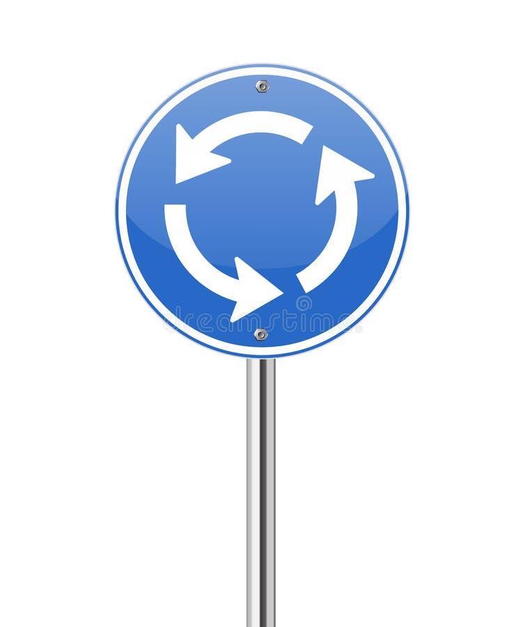 Het teken van het het kruispuntverkeer van de rotonde vector illustratie