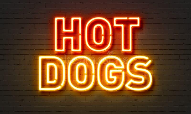 Het teken van het hotdogsneon op bakstenen muurachtergrond royalty-vrije stock foto