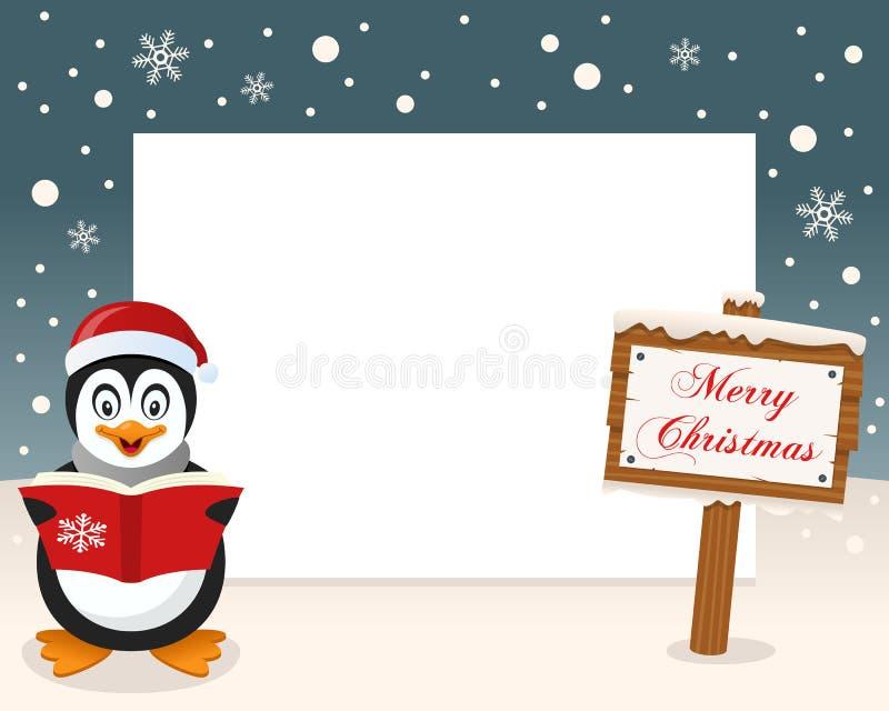 Het Teken van het Kerstmiskader & Gelukkige Pinguïn vector illustratie