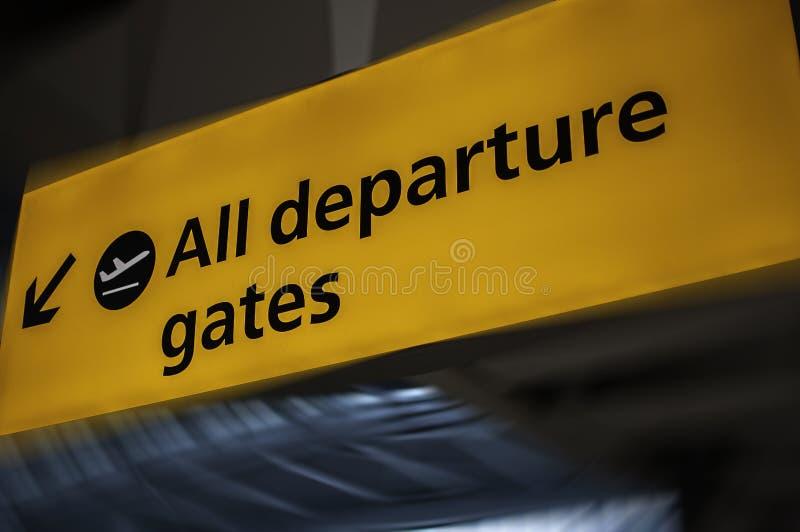 Het teken van het luchthavenvertrek stock foto's