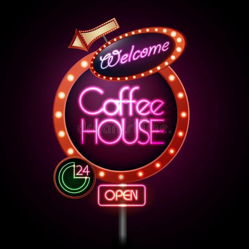 Het teken van het neon Het huis van de koffie stock illustratie