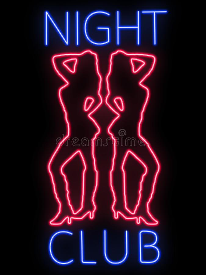 Het teken van het neon - nachtclub royalty-vrije stock foto's