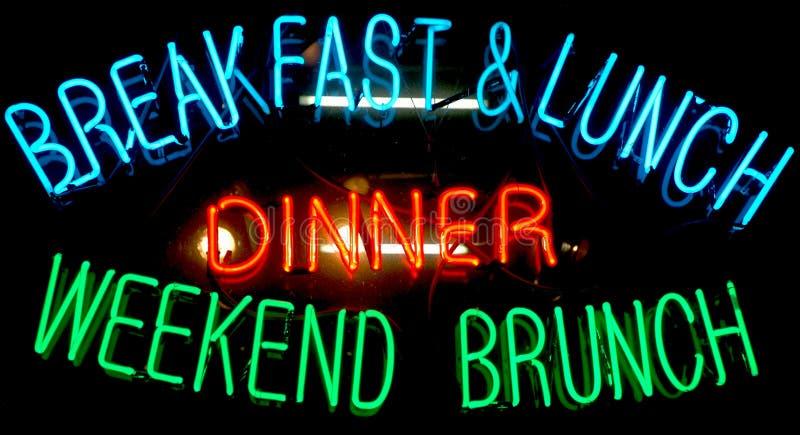 Het Teken van het Neon van het ontbijt stock fotografie