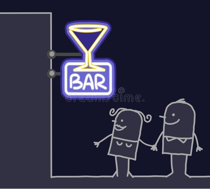 Het teken van het paar & van de winkel - staaf royalty-vrije illustratie