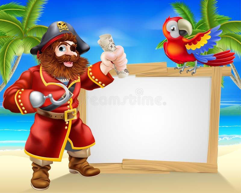 Het teken van het piraatstrand stock illustratie