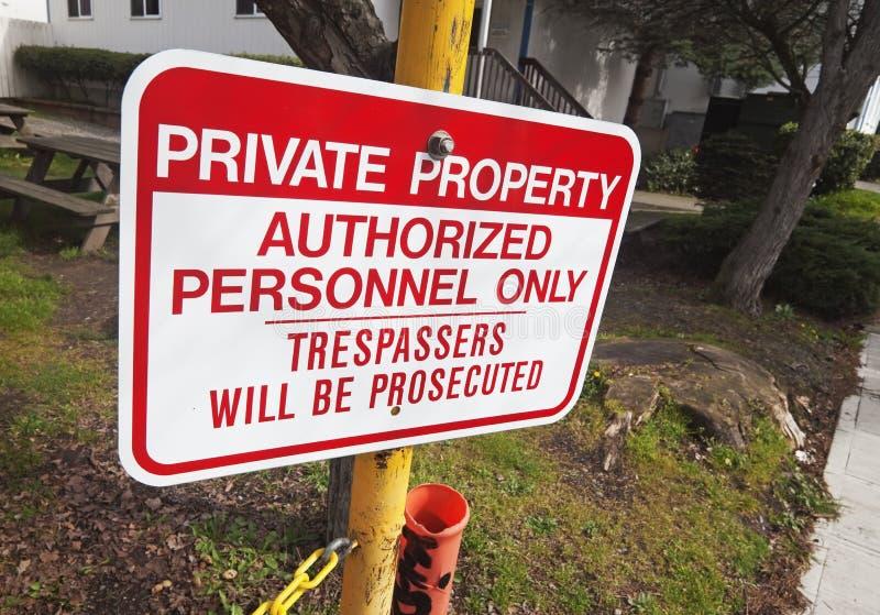 Het teken van het privé-bezit stock afbeeldingen