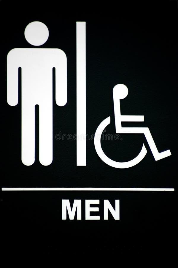 Het Teken van het Toilet van Mens op Zwarte royalty-vrije stock afbeeldingen